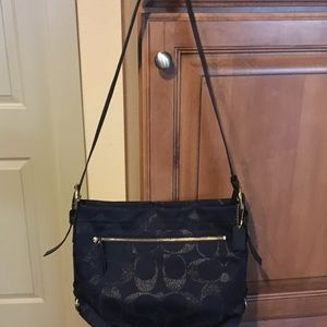 Coach Midnight Blue Metallic Duffle/Purse,